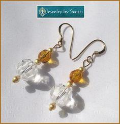 Topaz Crystal Dangle Earrings 14K Gold Plated by JewelryByScotti