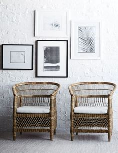 PALECEK MALAWI OCCASIONAL CHAIR  Jeffrey Alan Marks Collection. Pole rattan frame and legs with natural pencil pole rattan hand-woven in intricate patterns. Chair comes with loose seat cushion.