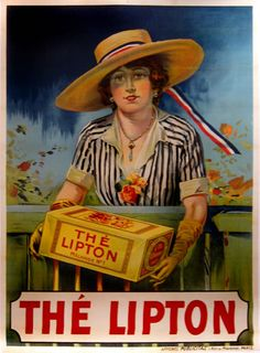 A classic English beauty offers Lipton's Tea to the French market.
