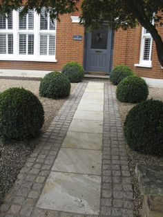 magnificent box balls were supplied by Provender Nurseries, Swanley, Kent, for this garden I designed in south-east London. The pale paving is edged with buff-coloured granite setts which work well with the brickwork of the house. Front Garden Path, Front Yard Garden Design, Front Path, Small Front Yard Landscaping, Garden Paths, Backyard Landscaping, Landscaping Ideas, Front Driveway Ideas, Front Door Steps