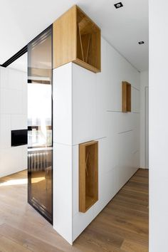 The main idea behind this apartment by Monoloko Design is to turn the interior toward the view from the windows Small Apartment Design, Small Space Design, Apartment View, Small Apartments, Small Spaces, Residential Interior Design, Interior Architecture, Interior Design Living Room, Interior Decorating