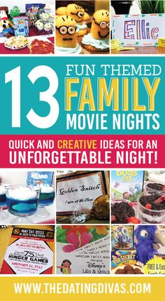 13 Fun Themed Family Movie Nights. SO Cute!!  www.TheDatingDivas.com