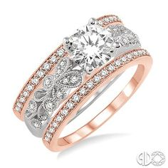 1/2 Ctw Diamond Semi-Mount Trios Ring Set in 14K White and Pink Gold