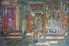 The 30 caves at Ajanta lie to the north of Aurangabad in the Indhyadri range of Western Ghats. The caves, famous for their temple architecture and many delicately. Ajanta Caves, Temple Architecture, Archaeology, Bohemian Rug, Vintage World Maps, Asia, Painting, Murals, Google Search