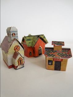 Vintage Toy Game  Faux Wood Cardboard Paper Houses  by AaronKllc, $48.00