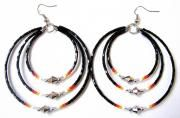 TRIPLE MEMORY WIRE EARRINGS WITH CUTGLASS BEADS