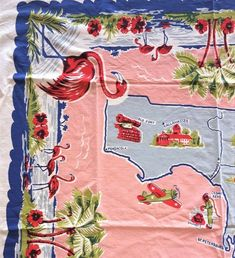 ~ VINTAGE 50's PINK TURQ COTTON TABLECLOTH FLORIDA STATE MAP SOUVENIR FLAMINGOS | eBay Floral Tablecloth, Vintage Tablecloths, Floral Fabric, Cattleya Orchid, Lace Table, Paper Tags, Pink Stripes, Pink Purple, Orchids