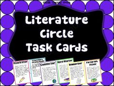 Literature Circle Task Cards from Chantal Gunn on TeachersNotebook.com -  (4 pages)  - This pack includes 6 tried-and-true literature circle task cards, each on a half-sheet. Students record their task in a journal or notebook paper to be turned in after they share with their group.