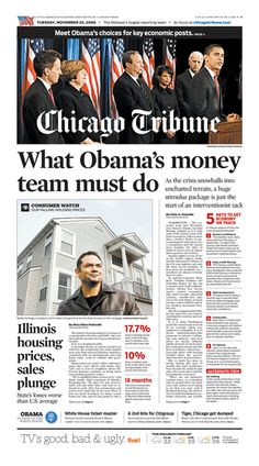 Chicago Tribune front page from Nov. 25, 2008: Key facts highlighted in red and are easily accessible and readable.