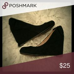 Black Report Wedges 3 inch wedges with a cute now on the heel!! worn a handful of times. Report Shoes Wedges