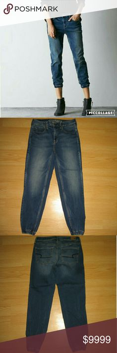 """American Eagle AEO Denim Jogger Pants Jeans These jeans are preloved but in very good condition. They are the AEO Jogger. Made of 87% cotton 12% polyester 1% elastane. Tag size is 2 Regular.  - Waist across with natural dip is 14"""" - Waist across when aligned is 14.5"""" - Front rise is 9.25"""" - Inseam is 26"""" American Eagle Outfitters Jeans"""
