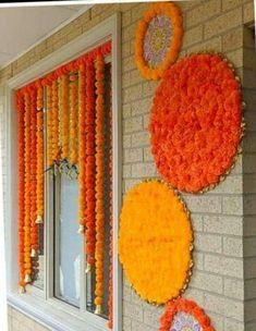 Pom Pom Decorations, Diy Diwali Decorations, Wedding Stage Decorations, Backdrop Decorations, Festival Decorations, Diy Backdrop Stand, Flower Wall Backdrop, Wall Backdrops, Floral Backdrop
