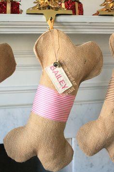 DOG / PET Christmas Stocking, Unique burlap holiday stocking for pets, Unique dog holiday gift