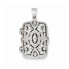 Sterling Silver Cz Oval Design Square Locket Pendant, Best Quality Free Gift Box. This adds a sense of charm to your favorite collection.Sterling Silver CZ Oval Design Square Locket Pendant. Model No.: QP2050. Sterling Silver. Product Type: Jewelry. Jewelry Type: Pendants & Charms. Pendant/Charm Type: Locket. Material: Primary: Sterling Silver. Material: Primary - Color: White. Material: Primary - Purity: 925. Sold By Unit: Each. Charm Length: 31 mm. Charm Width: 19 mm. Stone Type1: Cubic...