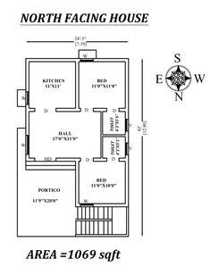 Superb North facing house plan as per vastu Shastra , Autocad DWG file Details. Little House Plans, 2bhk House Plan, Model House Plan, Duplex House Plans, House Layout Plans, Dream House Plans, House Floor Plans, North Facing House, West Facing House