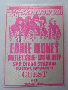 Def Leppard Eddie Money Motley Crue Uriah Heep San Diego Small Guest Pass San Diego Stadium From The Mighty Finwah Collection Safely Stored For Over 24 Years This Will be a great Gift for Yourself Or any Fan Shipping will be within 2 days o. Uriah, 24 Years, Def Leppard, Backstage, San Diego, Great Gifts, Therapy, Fans, Money