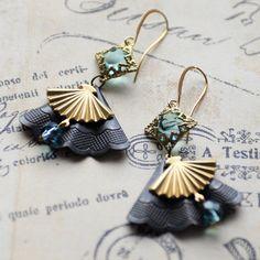 Asian Fan Earrings Aquamarine Earrings by JewelryFineAndDandy
