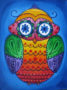 colorful owl painting great to cheer up a dorm room, children's room, or be a fun school mascot!