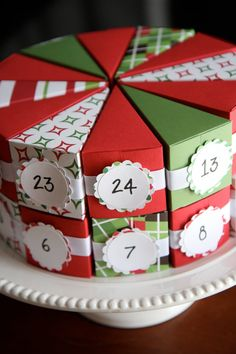 Advent Calendar paper cake - I started making this but my boys opt for the cones - think cause they get to peep at what's inside. But this is brilliant for a xmas in july game too. Thanks for the share.