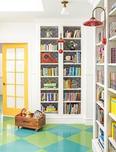 Painted cement floor (Alison Kandler Interior Design via House of Turquoise) Small Playroom, Small Rooms, Small Spaces, Playroom Ideas, Playroom Design, Yellow Playroom, Ikea Playroom, Scratched Wood Floors, Kids Play Spaces
