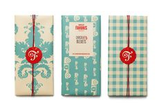 Beautiful packaging for Chocolat Favoris. I love the combination of the red color with the soft patterns.