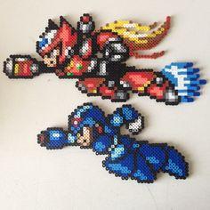 Mega Man X and Zero perler bead sprites by jyphlosion