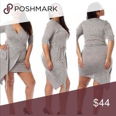 Plus wrap dress Actual picture of dress modeled. 3/4 sleeve wrap dress with self tie belt. Great stretch. 95% rayon 5% spandex. Last 1X fits 14-16 💜price firm Dresses