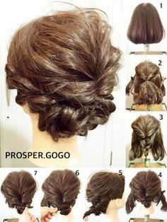 20 Stunning Short Hair Styles for Prom Ideas (WITH PICTURES) Browse short hair styles for prom photos from top stylist to get you inspired. Find that perfect trendy hairstyle for your biggest night. Go ahead pick yours! Up Hairstyles, Pretty Hairstyles, Wedding Hairstyles, Short Hair Updo, Curly Hair Styles, Buns For Short Hair, Bridesmaid Hair, Prom Hair, Hair Arrange