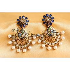 GORGEOUS PEAOCK MEENAKARI WORK BLUE PEARL ANTIQUE EARRINGS