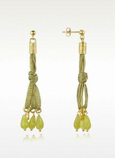 Daco Milano Jade Sterling Silver Lace Drop Earrings   FORZIERI