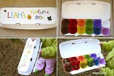 Rien de tel pour motiver un enfant à se promener que de lui faire préparer sa boîte à cueillette : il doit d'abord peindre chaque trou d'une couleur différente. Puis c'est parti pour une promenade prolifique !