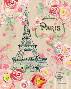 Hand painted watercolor of Paris and the Eiffel Tower surrounded by pink roses.