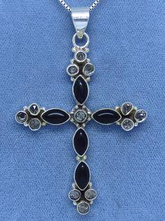 Large Genuine Black Onyx & Herkimer Diamond Cross Necklace - Sterling Silver - Ornate Victorian Design - C152119