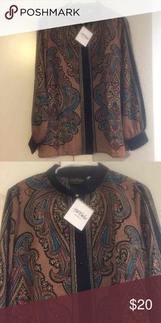 Bob Mackie Shirt Size Large Brand new with tags Bob Mackie Shirt Size Large! Retails for over $85! Checkout my closet too Bob Mackie Tops Blouses