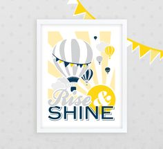Rise & Shine Hot Air Balloon Nursery Decor /// 11 x 14 Giclee Print /// Yellow and Aqua /// Kids Bedroom Art /// Newborn Gift via Etsy Nursery Rhymes, Girl Nursery, Nursery Art, Nursery Decor, Nursery Ideas, Aqua Nursery, Forest Nursery, Themed Nursery, Vintage Nursery