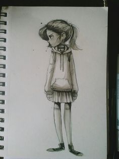 A girl I saw waiting for the bus - airefee.tumblr.com