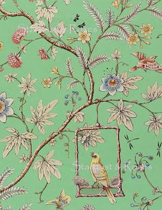 Ideas wall paper flower bedroom fabrics for 2019 Chinoiserie Wallpaper, Chinoiserie Chic, Of Wallpaper, Designer Wallpaper, Vintage Bird Wallpaper, Victorian Wallpaper, Vintage Wallpapers, Hand Painted Wallpaper, Bathroom Wallpaper