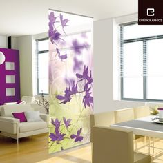 Beautifully purple flower patterns decorative wall dividers for living room modern style with cool sofa and armchair with impressive cabinet and wooden floor