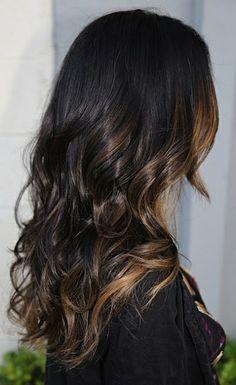 Peek-a-boo highlights on dark hair