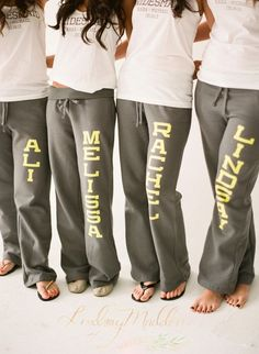I like comfy sweatpants and shirts vs. a robe. Could totally do this and shirts on my own with iron-on vinyl on my Circuit.