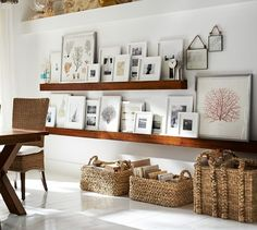 Easier than hanging frames Wood Gallery frames on picture shelves Picture Shelves, Picture Ledge, Picture Frames, Wooden Picture, Galley Wall, Family Room Walls, Family Wall, Floating Shelves, Floating Wall