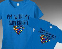 Autism Awareness - Superhero T-Shirt Tshirt Tee T Shirt  FAST SHIPPING TO THE U.S.  All t-shirts are printed on 100% Cotton (Preshrunk) High Quality