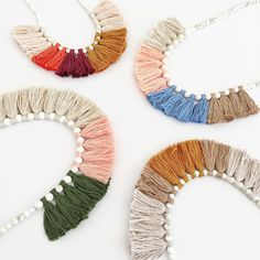 Tassel Necklace by Australian designer and maker Madeline Young on ETSY MadiJaneHandmade Tassel Jewelry, Textile Jewelry, Fabric Jewelry, Tassel Earrings, Diy Jewelry, Jewelery, Handmade Jewelry, Jewelry Design, Jewelry Making