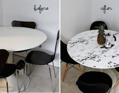 DIY: Faux Marble Table Top Cover a plain, ruined, or ugly table top with contact paper. This one has a marble effect - Marble Table Designs Paper Furniture, Diy Furniture Projects, Furniture Makeover, Diy Projects, Ikea Furniture, Ikea Hacks, Table Ikea, Dining Table, Kitchen Table Makeover