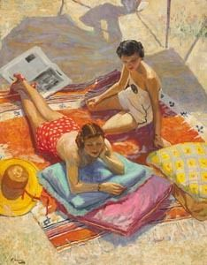 """Sunbathers"" by Sir John Lavery - I can feel the sun just looking at this picture"