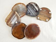 Mid Century Modern Agate Stone Coasters Set of by NaturalArtWorld