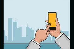 Hand with smartphone and city view.. Business Infographic