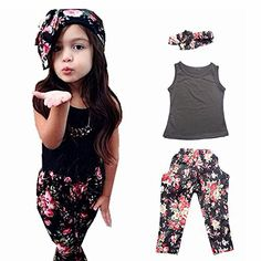 Girls' 3 Pieces Outfit Set Black Tank Top,Flowers Print Leggings,Headband (4T)