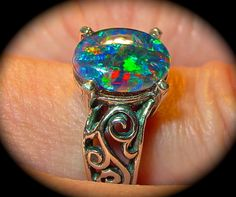 Engagement ring.Genuine Australian Natural Opal by AmyKJewels