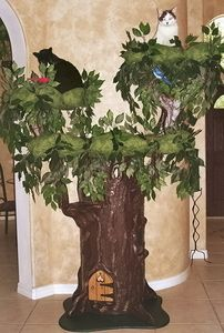 Fantasy Forest Hidden Hollow cat tree - this is the ULTIMATE in kitty spoilage! Crazy Cats, I Love Cats, Cat Castle, Images Gif, Cat Towers, Fantasy Forest, Cat Enclosure, Unique Cats, Cat Room